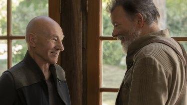Patrick Stewart as Jean-Luc Picard and Jonathan Frakes as Will Riker in Star Trek: Picard.
