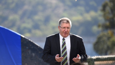 Tamworth mayor Col Murray at the opening of Chaffey Dam in 2016.