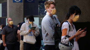 People lining up to be tested for coronavirus at the Royal Melbourne Hospital's special clinic on Tuesday.