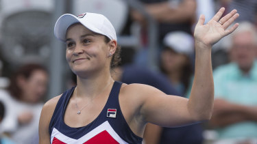 Power game: Barty looked in commanding form during her straight-sets victory on Thursday.