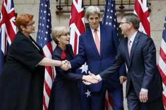 Then-Secretary of State John Kerry, center right, and Defence Secretary Ash Carter, right, discussed China with their Australian counterparts, Foreign Minister Julie Bishop, second from left, and Defence Minister Marise Payne, left, in Boston on October 13, 2015.