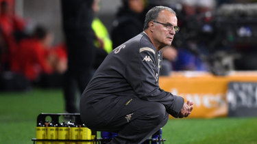 Open to offers: Marcelo Bielsa looks on during Leeds' clash with Wanderers at Bankwest Stadium on Saturday night.