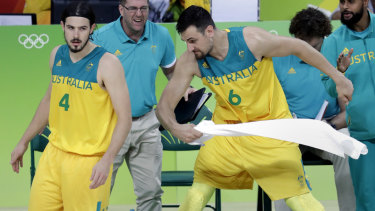 Toweled out: Andrew Bogut fans the fire that is this season's rivalry with fellow Boomer Chris Goulding.