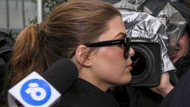 Belle Gibson arrives at court on Thursday