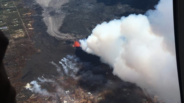 Kilauea volcano spews lava as high as 55 metres into the air in Hawaii.