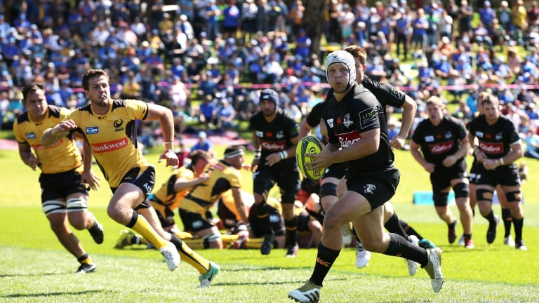 Mack Mason runs the ball in NSW Country's round two NRC match against the Western Force in Perth.