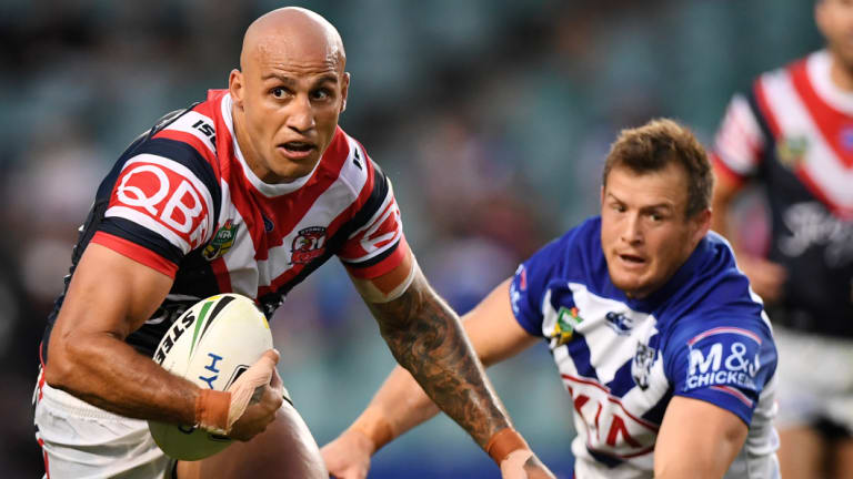 Running man: Roosters winger Blake Ferguson leads the NRL in metres gained in 2018.