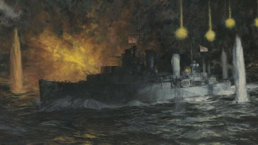 Painting of HMAS Perth hit by four torpedoes.