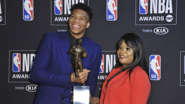 Antetokounmpo with his mother Veronica.