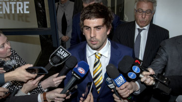 Andrew Gaff at the tribunal after his clash with Andrew Brayshaw.