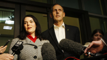 Senator Sarah Hanson-Young with then Greens leader Bob Brown in 2009.