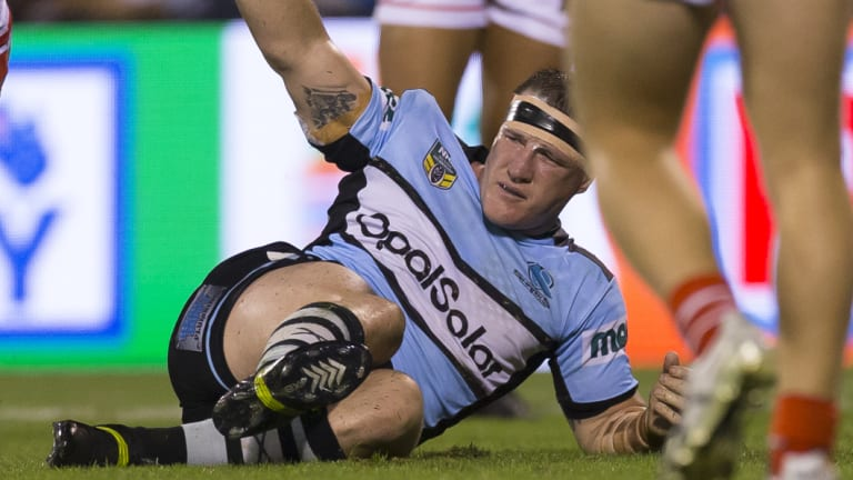 Shark sunk: Paul Gallen injury suffered in the loss to the Dragons will keep him sidelined for up to six weeks.