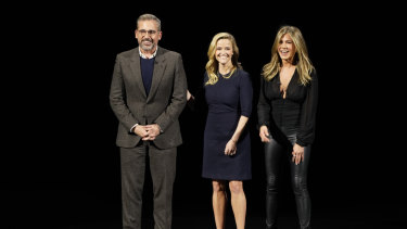 Apple's Morning Wars stars: Steve Carell, Reese Witherspoon and Jennifer Aniston.