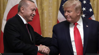 Turkish President Recep Tayyip Erdogan and US PResident Donald Trump appeared friendly despite strained relations over Syria.