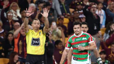 South Sydney's James Roberts was sin-binned after a late elbow to the head of the Broncos' Corey Oates.