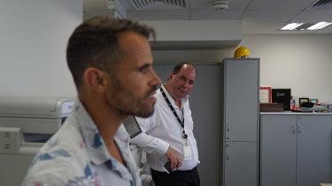 Journalist Richard Baker with AFP agent Des Appleby.