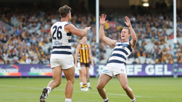 Tom Hawkins (L) and Mitch Duncan of the Cats celebrate.