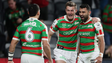 Alex Johnston (right) has signed a new deal with the Rabbitohs.