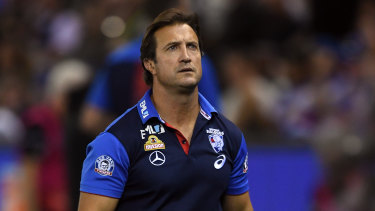 Steady hand in a crisis: Bulldogs coach Luke Beveridge.