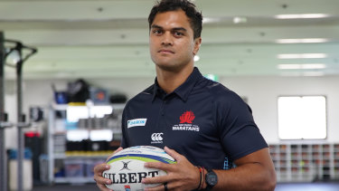 Front and centre: Karmichael Hunt started at inside-centre in the Waratahs' trial loss to the Highlanders.