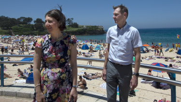 """It's a very slim margin and there's a lot of feelings out there"": Coogee MP Bruce Notley-Smith with NSW Premier Gladys Berejiklian at Coogee Beach."