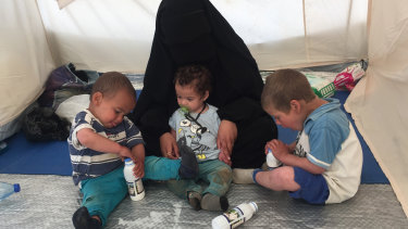 Australian woman Shayma Assaad and her three sons at the al-Hawl camp in north-eastern Syria in April.