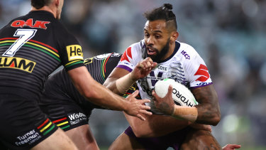 Playing catch-up: Storm speedster Josh Addo-Carr.