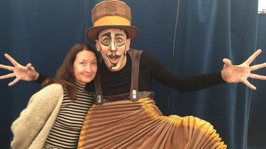 Accordion Man Nicol Baixas with artistic director Rachel Lancaster.