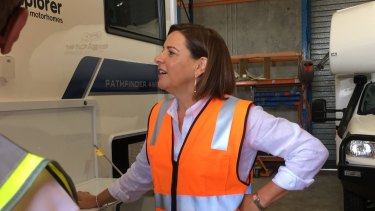 LNP Leader Deb Frecklington making an announcement about caravans on Tuesday.