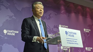 China's Ambassador to the UK Liu Xiaoming addresses Chatham House in London, March 2 2020.