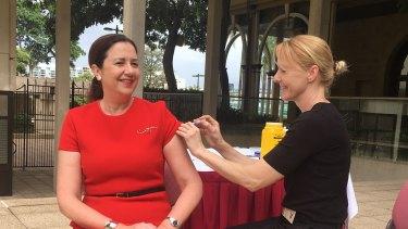 Queensland PremierAnnastacia Palaszczuk gets a flu shot on Tuesday.