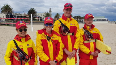 The surf lifesavers who met Harry and Meghan: Emma Horne from Ocean Grove LSC, Grace Lightfoot from Jan Juc LSC, Sebastian Top from Anglesea LSC and Andy Nott from Point Leo LSC.