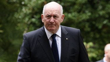 Governor-General Peter Cosgrove arrives at John Kennerley's funeral.
