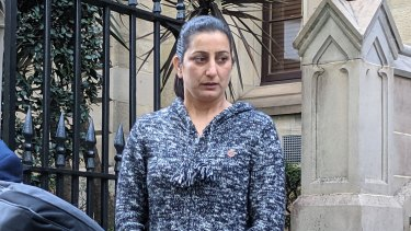 Gurvinder Kaur leaves the Supreme Court in Sydney on Wednesday.