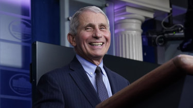 Dr Anthony Fauci laughs while speaking in the James Brady Press Briefing Room at the White House on Joe Biden's first full day in office.