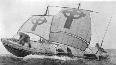 Tim Severin's leather boat in which he replicated the legend of St Brendan's voyage across the Atlantic.