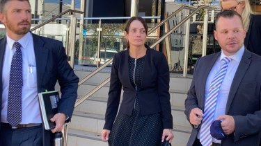 Susan Forte, the widow of Senior Constable Brett Forte, outside Toowoomba Court House.