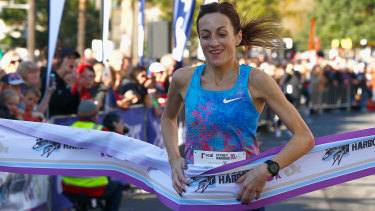 Sinead Diver crosses the line in Sydney last year.