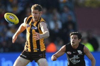 Ben McEvoy in action against the Blues last year.
