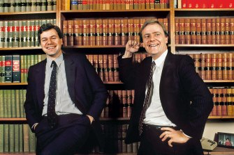 Michael Kroger as Victorian Liberal Party president, and Peter Costello, the then-candidate for Higgins, in 1989.