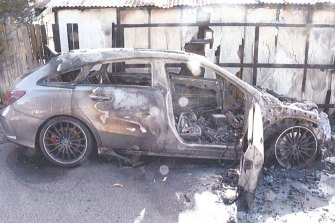 A grey Mercedes alleged to be the first getaway car used by Mick Hawi's killers.