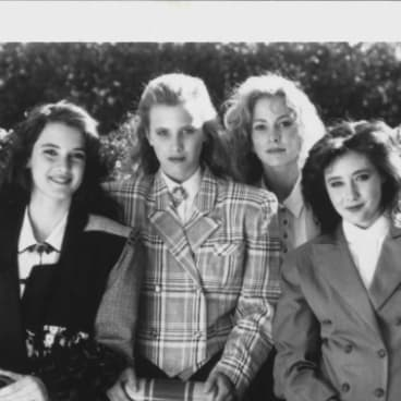 In the movie <i>Heathers</i> from left: Winona Ryder, Kim Walker, Lisanne Falk and Shannon Doherty.