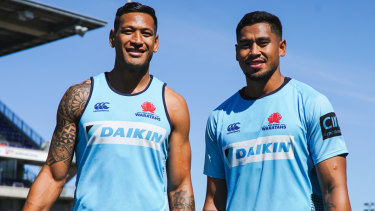 Big brothers: Israel and john Folau will play alongside each other for the first time at the Waratahs tonight.