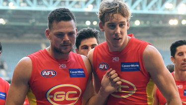 Steven May (left) and Tom Lynch as co-captains at Gold Coast.