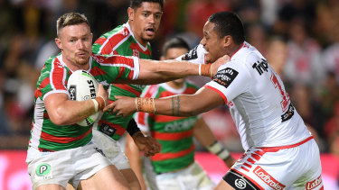 Lightning quick: South Sydney's Damien Cook is one of the fastest hookers to have played the game.