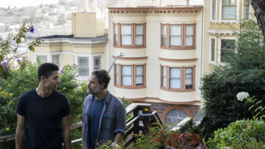 Charlie Barnett (Ben) and Murray Bartlett (Michael) on the Barbary Lane steps in a series where the city is a key character.