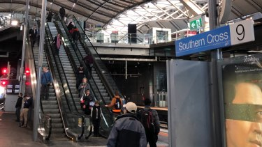 The newly repaired escalator to platform nine and 10 at Southern Cross Station.