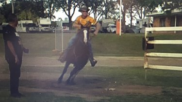 Video shows the man riding through the showground.