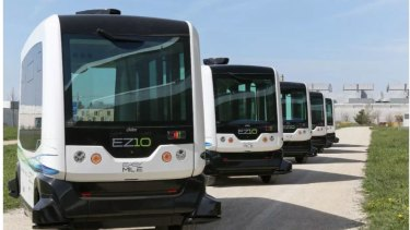 EasyMile's electric, driverless shuttle buses which can carry 12 people are on trial at Springfield.