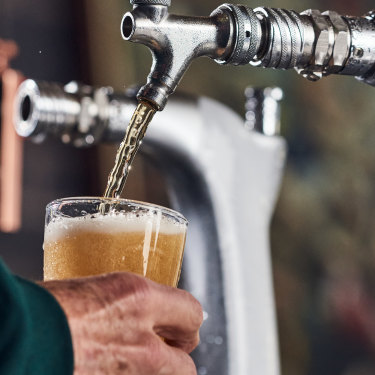 """Pouring a cold VB at Carlton United Breweries' Brewhouse in Abbotsford, Victoria. VB is remembered for its advertising campaign: """"A hard-earned thirst needs a big, cold beer."""""""